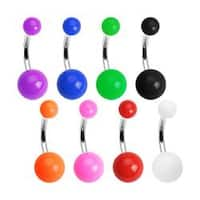 "Stainless Steel Navel Belly Button Ring with Solid color UV Balls - 14 GA 3/8"" Long"