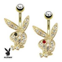 Multi Paved Gems On Playboy Bunny gold-plated Navel Belly Button Ring