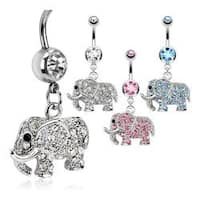 Elephant Multi Paved CZs Dangle Navel Belly Button Ring 316L Surgical Steel
