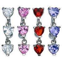 "Fancy Top Down Heart Prong-Setting CZ Navel Belly Button Ring - 14 GA 3/8"" Long"