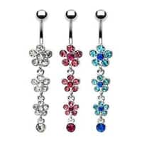 "Gemmed Flower Navel Belly Button Ring with Gem Paved Flower Petal Dangle - 14 GA 3/8"" Long"