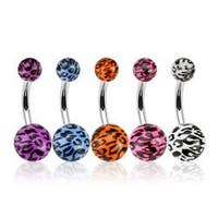 "Stainless Steel Navel Belly Button Ring with Leopard Print Acrylic Balls - 14 GA 3/8"" Long"