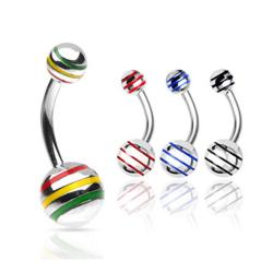 "Stainless Steel Navel Belly Button Ring with Striped Ball - 14 GA 3/8"" Long (5x8mm Ball)"