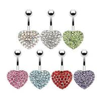 "Stainless Steel Multi Crystal Paved Heart Navel Belly Button Ring - 14 GA 3/8"" Long"