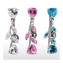 "Navel Belly Button Ring with Top Drop Heart and CZ Vine - 14GA 3/8"" Long - Thumbnail 0"