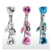 "Navel Belly Button Ring with Top Drop Heart and CZ Vine - 14GA 3/8"" Long"