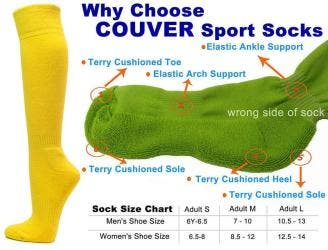 Bright Yellow Couver Knee High Unisex Sports Athletic Baseball Softball Socks(2 Pairs)|https://ak1.ostkcdn.com/images/products/100/751/P18483853.jpg?impolicy=medium