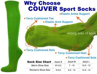 Bright Green Couver Knee High Unisex Sports Athletic Baseball Softball Socks(2 Pairs)