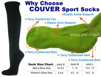 Black Couver Knee High Unisex Sports Athletic Baseball Softball Socks(2 Pairs)