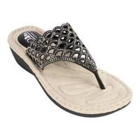 Women's Cliffs by White Mountain Cameo Thong Sandal Black Smooth Synthetic