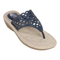 Women's Cliffs by White Mountain Cameo Thong Sandal Navy Smooth Synthetic (More options available)