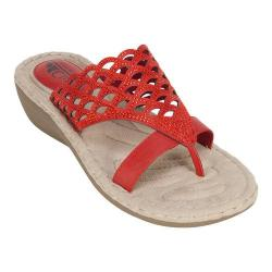 Women's Cliffs by White Mountain Cycle Thong Sandal Red Smooth Synthetic