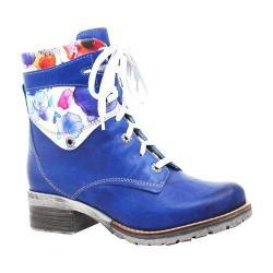 Women's Dromedaris Kara Flower Print Lace Up Boot Cobalt Soft Waxy Leather/Suede