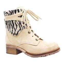 Women's Dromedaris Kara Safari Lace Up Boot Beige Soft Waxy Leather/Suede