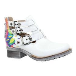 Women's Dromedaris Kelsy Flower Buckle Boot Ivory Soft Waxy Leather/Suede