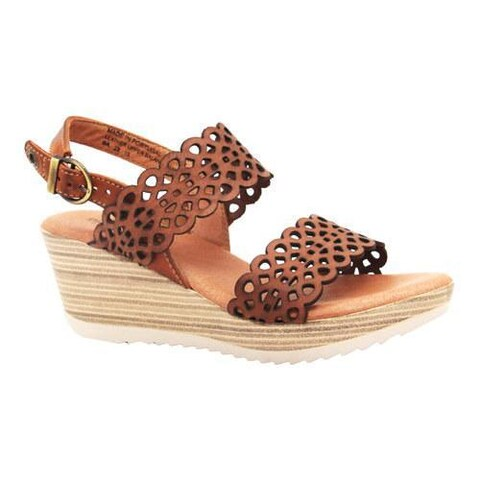 Women's Dromedaris Libby Quarter Strap Sandal Cognac Waxed Leather