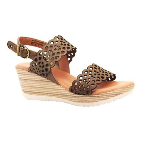 Women's Dromedaris Libby Quarter Strap Sandal Olive Waxed Leather