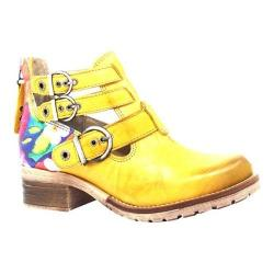 Women's Dromedaris Kelsy Flower Buckle Boot Yellow Soft Waxy Leather/Suede