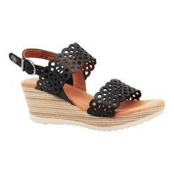 Women's Dromedaris Libby Quarter Strap Sandal Black Waxed Leather