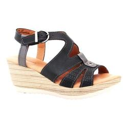Women's Dromedaris Liz Ankle Strap Sandal Black Waxed Leather