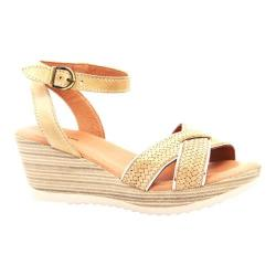 Women's Dromedaris Lucy Quarter Strap Sandal Beige Waxed Leather - Thumbnail 0