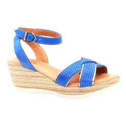 Women's Dromedaris Lucy Quarter Strap Sandal Cobalt Waxed Leather