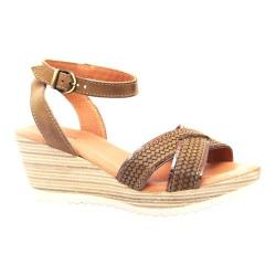 Women's Dromedaris Lucy Quarter Strap Sandal Olive Waxed Leather