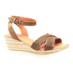 Women's Dromedaris Lucy Quarter Strap Sandal Olive Waxed Leather