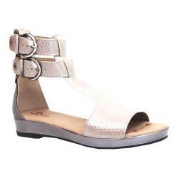 Women's Dromedaris Sophie Quarter Strap Sandal Pewter Metalized Leather