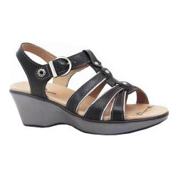 Women's Dromedaris Wave Strappy Sandal Black Soft Aniline Leather