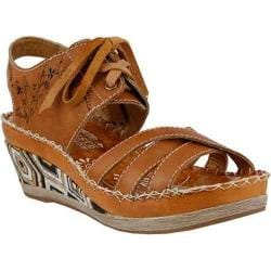 Women's L'Artiste by Spring Step Bramble Wedge Sandal Camel Leather