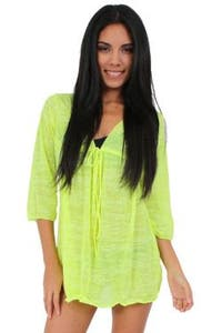 Women's Beach Dress Cover Up Long Sleeve Burnout Light Weight Swimwear
