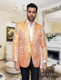 Men's manzini orange sport coat