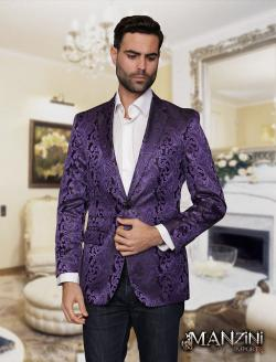Men's manzini purple sport coat - Thumbnail 0