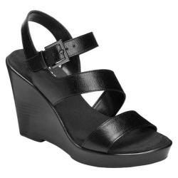 Women's Aerosoles Explorative Wedge Sandal Black Faux Leather
