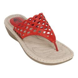 Women's Cliffs by White Mountain Cameo Thong Sandal Red Smooth Synthetic