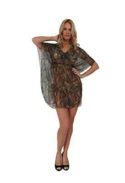 Women's Camo Beach Cover Up Short Sleeve Swimwear Swimsuit Camouflage