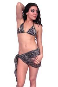 Women's Camo Beach Cover Up True Timber Short Sarong Green Swimwear Swimsuit