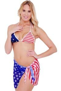 Women's USA Flag Short Sarong Beach  Swimwear Swimsuit Pareo Stars & Stripes