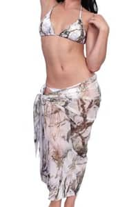 Women's Camo Beach Cover Up True Timber Long Sarong White Swimwear Swimsuit