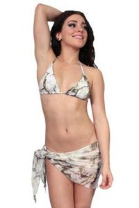 Women's Camo Beach Cover Up True Timber Short Sarong White Swimwear Swimsuit