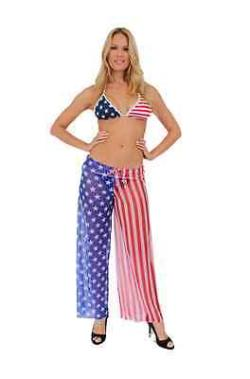 Women's Beach Dress Cover Up USA Flag Pants Front Tie Swimwear Stars & Stripes - Thumbnail 0