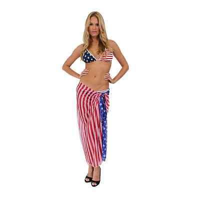 Women's USA Flag Long Sarong Beach Swimwear Swimsuit Pareo Stars & Stripes