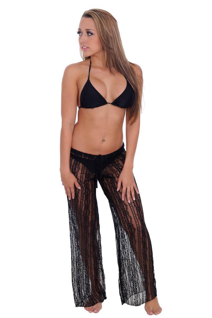 Women's Cover Up Front Tie Lace Pants Beach Swimwear Swimsuit