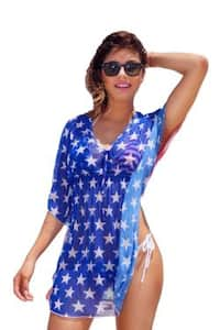Women's Beach Dress Cover Up USA Flag Swimwear Swimsuit Summer Stars & Stripes