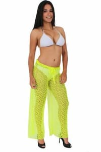 Women's Cover Up Front Tie Crochet Pants Beach Swimwear Swimsuit