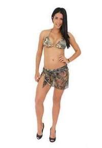 Women's Camo Beach Cover Up Short Sarong Beach Swimwear Swimsuit Camouflage