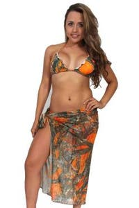 Women's Camo Beach Cover Up True Timber Long Sarong Orange Swimwear Swimsuit