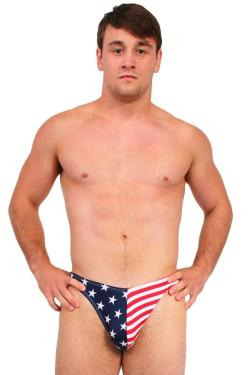 Men's USA Flag Thong Swimwear Stars & Stripes