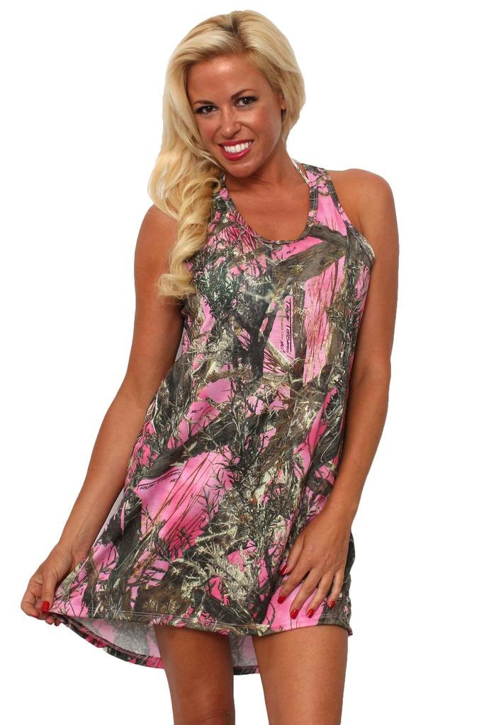 Women's Camo Tank Dress Authentic True Timber Pink